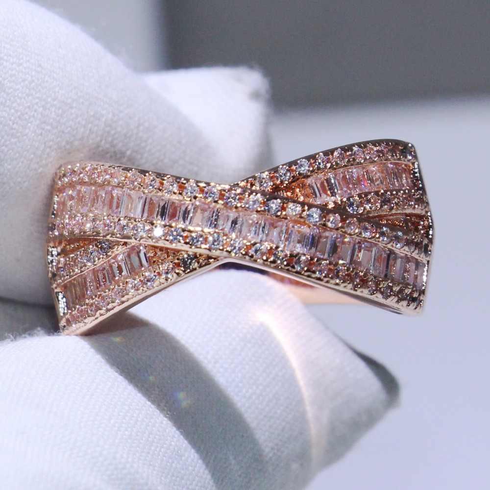 2018 Baru Kedatangan Berkilau Sabuk Mewah Perhiasan 925 Perak & Rose Gold Mengisi Cross Cincin Princess 5A Zirkonia Wanita Pernikahan cincin