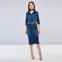 Sisjuly Women Spring Summer Dark Navy Blue Denim Shirt Dress Office Lady Work Lapel Button Pocket Split Slim Basic Jeans Dresses