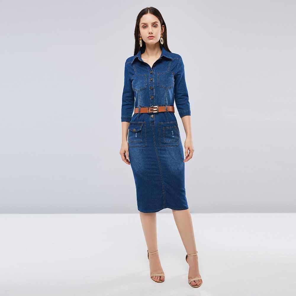 dea28c0bd6d Sisjuly Women Spring Summer Dark Navy Blue Denim Shirt Dress Office Lady  Work Lapel Button Pocket