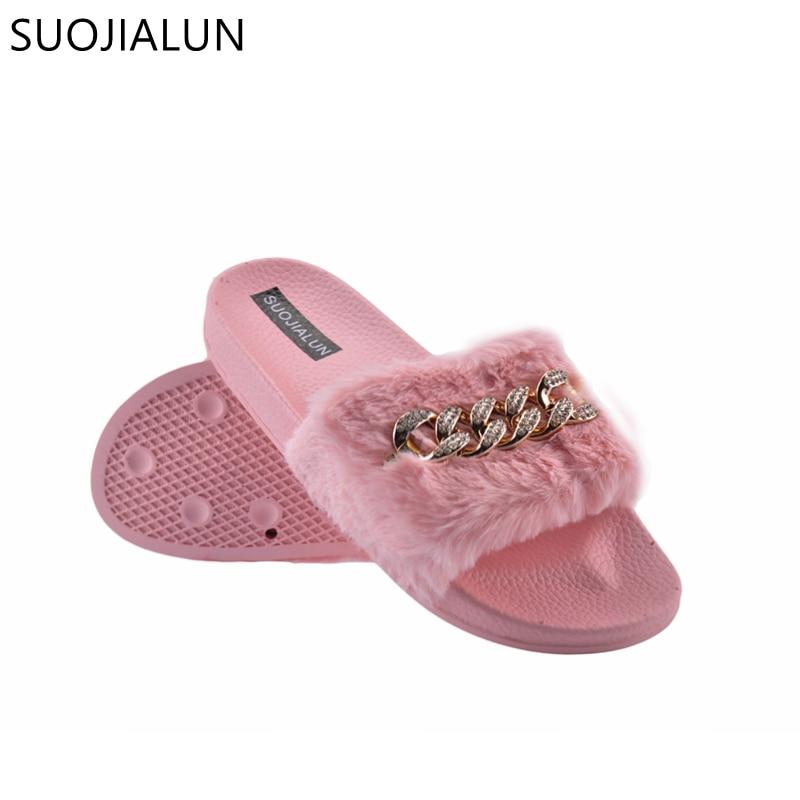 2018 Summer Mens Fur Fluffy Sliders Sandals Home Flat Comfy Slides Slippers