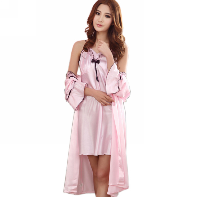 "Fashion Women Pink Robes Solid Long Sleeves Twosets Silk Robes Printed New Design Pink Sexy ""V"" Collar Brace Summer Nightgown"