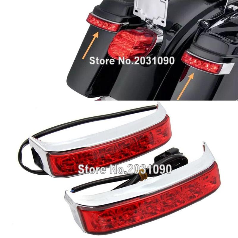 LED Saddlebag Run Brake Turn Lamp Light Chrome Housing Red Lens for Harley 14 18