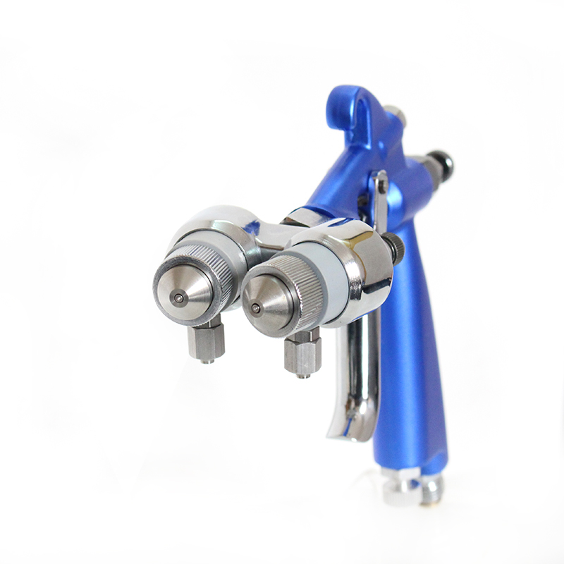 Pistola ad aria di alta qualità a doppio ugello per pistola a spruzzo con nanometro Pistola a spruzzo HVLP Strumento per spruzzo di vernice Compressore d'aria Ugello a due componenti