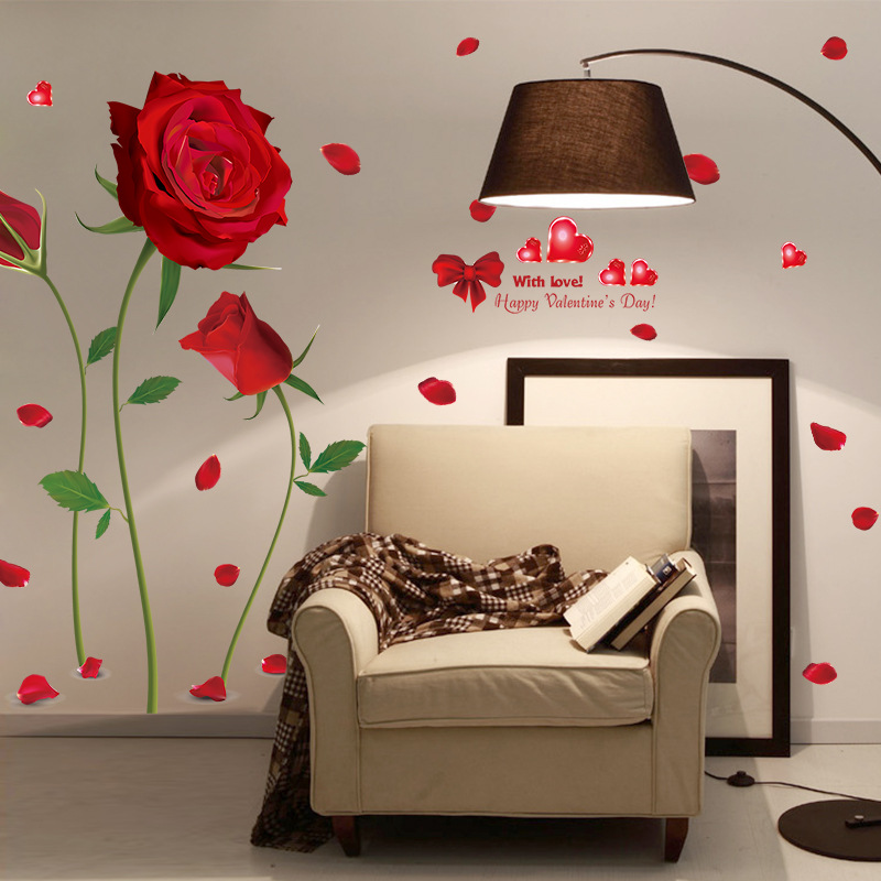 romantic red rose stickers beautiful flowers wall stickers bedroom