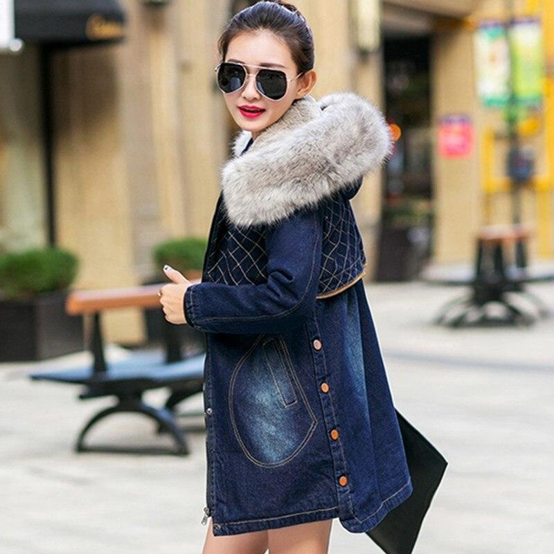 Denim 866 Chaud Coton Velours Épais Capuchon Dame Uhytgf D'hiver Fourrure Col Taille Jeans Blue La Survêtement Veste Manteau À Femelle De Plus qYxCR