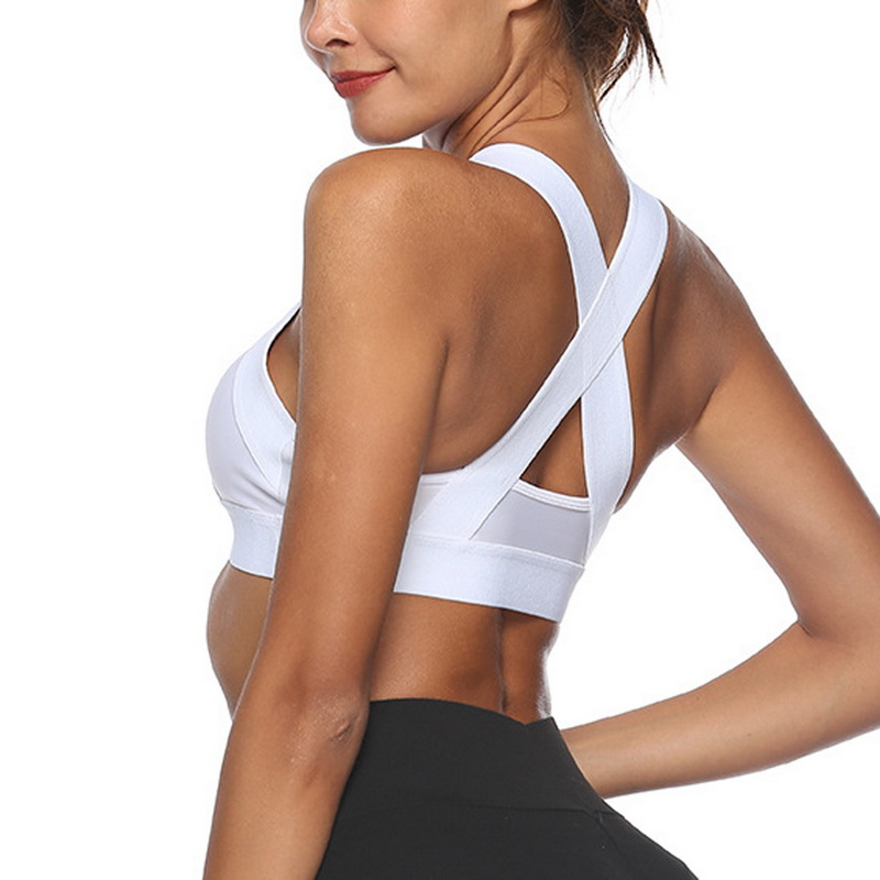White Women's Sport Bra Push Up Workout Yoga Sports Shirts Gym Crop Top Academia  Wear Fitness Brassiere Vest tank Top