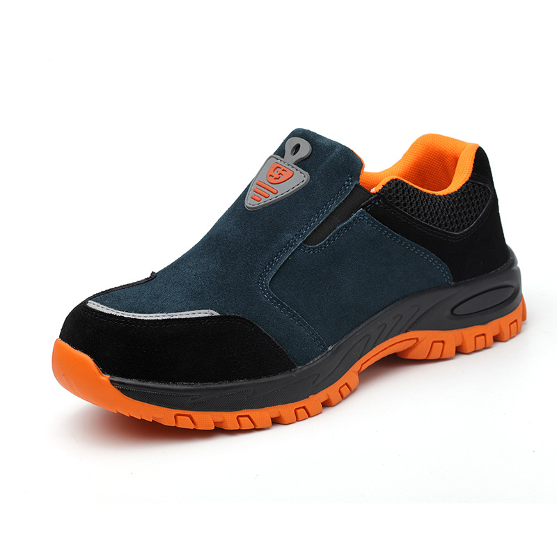 big size men fashion comfortable steel toe cap working safety shoes slip on warehouse building site