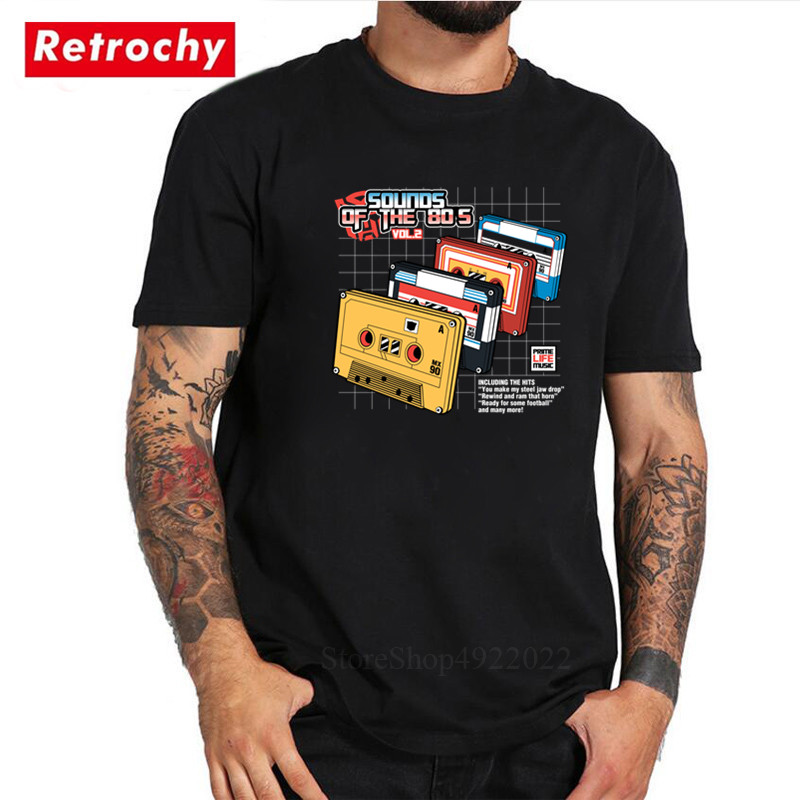 High Quality Sounds of the 80s Vol2 T Shirt Men's 80s Music Records T-shirt Hipster Cool Pre-Cotton Birthday Gifts Adult Tshirts image