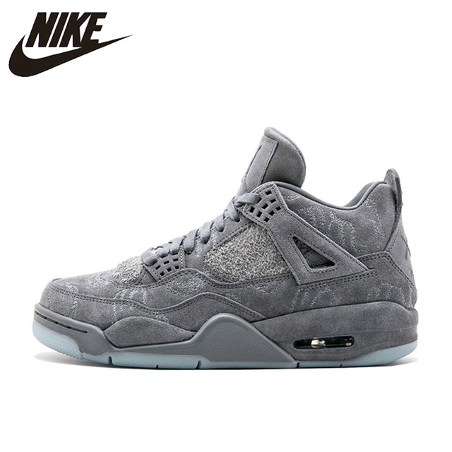 new product 93722 be71a Nike Original New Arrival Official KAWS x Air Jordan 4 Cool Grey Breathable  Men s Basketball Shoes Sports Sneakers 930155-003