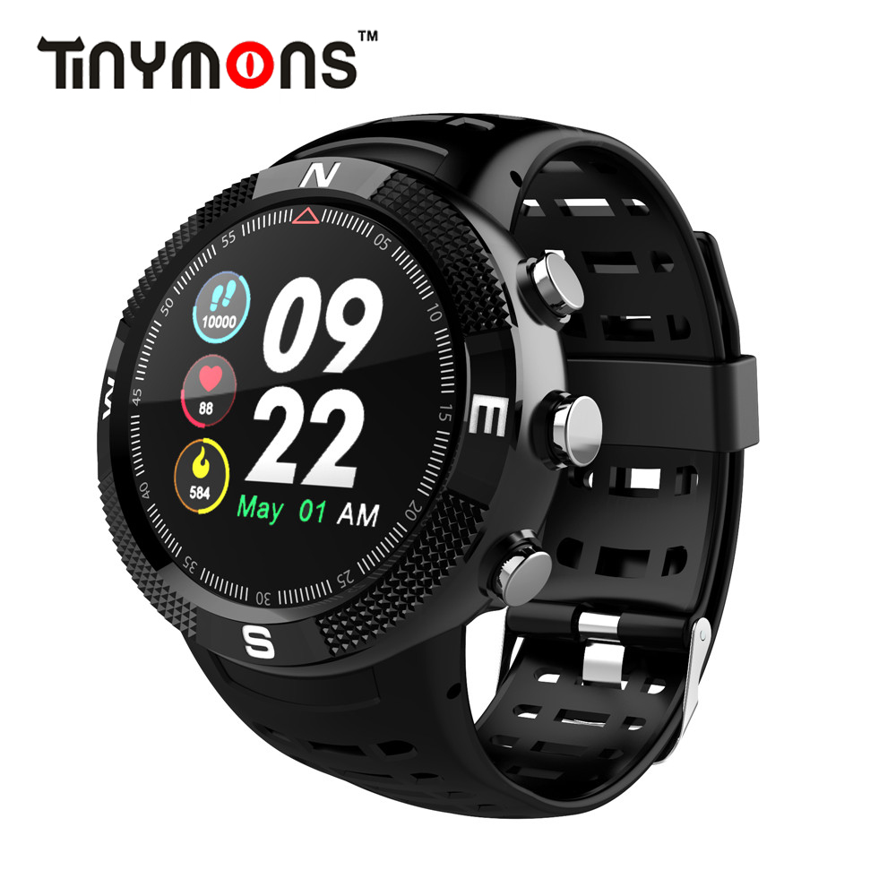 Tinymons F18 Color screen GPS Smart watch Sport Band Heart rate Pulse Message remind Alarm clock IP68 waterproof Smartwatch image