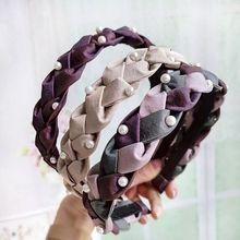 Simple Fashion Women Lady Headband Twist Hand-woven Artificial Pearl Headbands Girls Headwear Jewelry