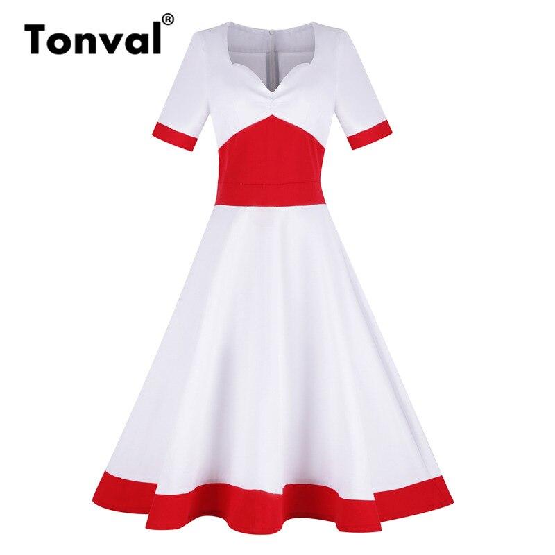 Tonval Vintage Women Color Block White Swing Dress Womens V Neck Sexy Retro Party Ladies Hepburn Red Dress