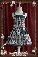 2016 Lolita Sweet Dress Rabbit Poker Print Girls Daily Wear Party Uniform Japanese Kawaii Dresses Red/Green/Blue/Coffee