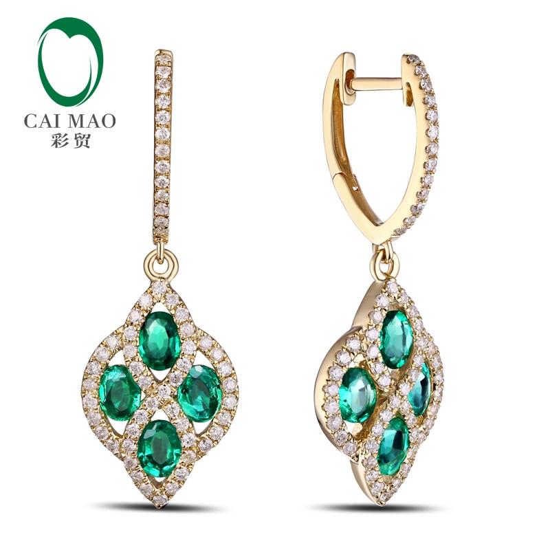 Perhiasan Caimao Romantis 14 K Kuning Emas Natural Emerald & Berlian - Perhiasan bagus - Foto 2
