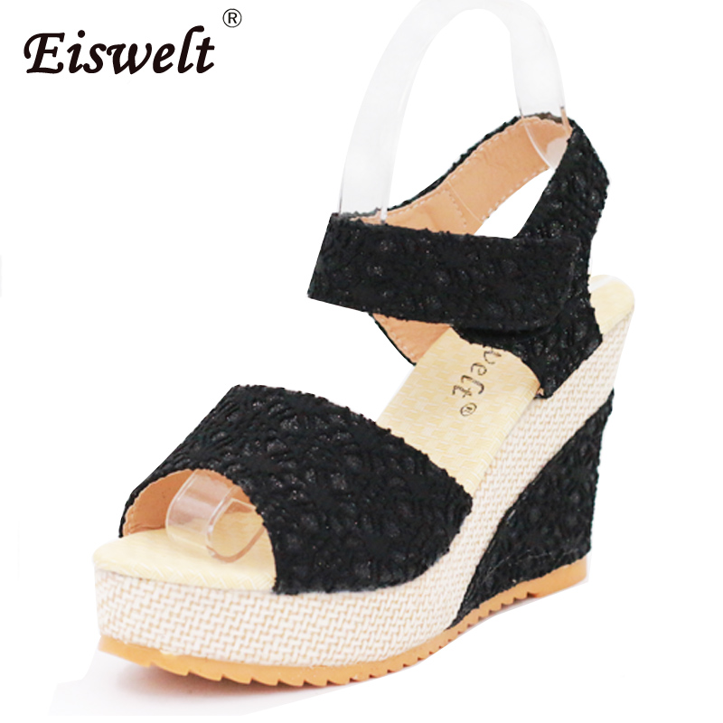 EISWELT Summer New Fashion platform High Heels Wedges Sandals Open Toe Fish Head female shoes Women Sandals #ZQS050 eiswelt 35 40 fashion summer wedges women s sandals platform lace belt bow flip flops open toe high heeled women shoes edzw16