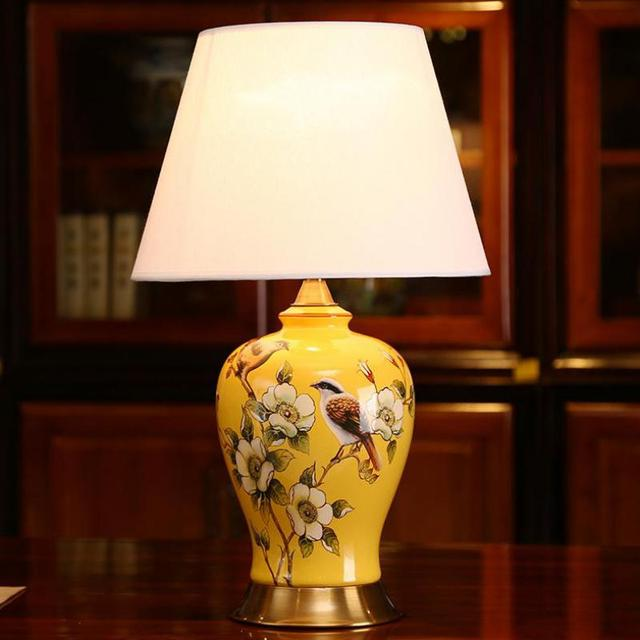 Modern Chinese Hand-painted Flower Bird Blue Full Copper Fabric Ceramic Table Lamp For Living Room Bedroom Bedside Lamp 1112