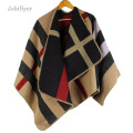 jzhifiyer YX099 Fashion 480 Grams Brand Women Poncho Prorsum Cashmere Feel Like Block Check Scarf Poncho Cape