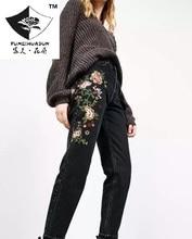 HDP026 женская мода черный Цветок вышивка джинсы девять нерегулярные длинные брюки вышивка джинсы/5 размер
