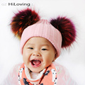 GZHilovingL INS Baby Girls Boys Autumn Winter Knitted Hats Real Multi Color Fur Ball For Kids Child Soft Acrylic Fur Pompom Hats
