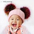 GZHilovingL INS Meninos Das Meninas Do Bebê Outono Inverno Malha Chapéus Verdadeira Multi Bola De Pêlo De cor Para Crianças Criança Macio Chapéus com Pompom De Pele De Acrílico