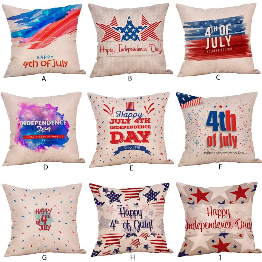Happy Independence Day Pillow Cases Sofa Cushion Cover Home Decor happy july 4th Pillow Case 45x45cm 2o0515