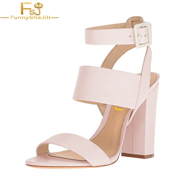 4c0d0d29c4 FSJ Women Ankle Strap Buckle Sandals Open Toe Slingback colorful Chunky High  Heels Pink White Famous Brand Summer Size 11 12 13