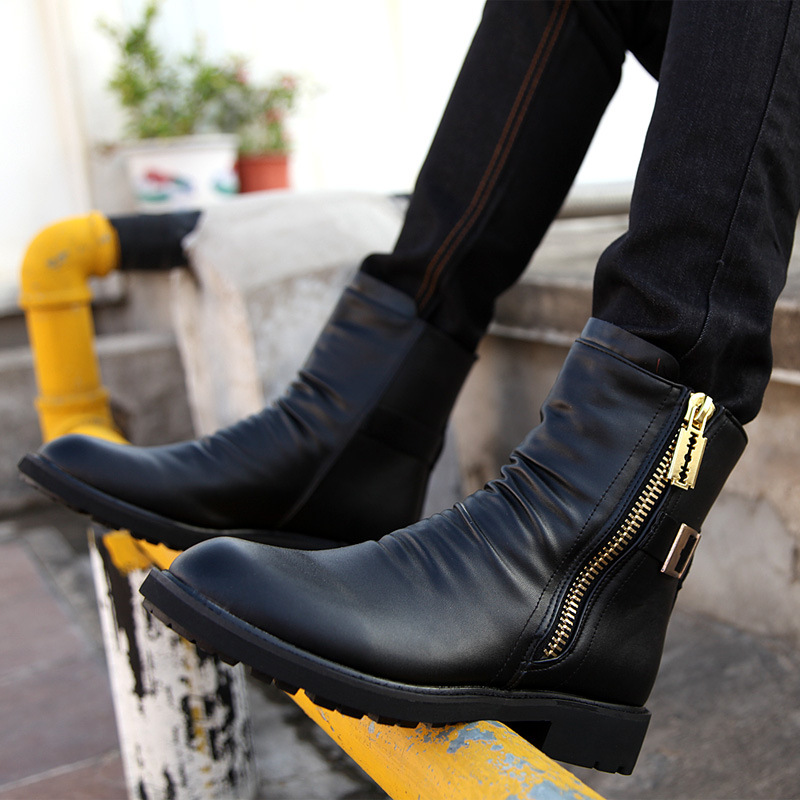Good Brand Men's Boots Ankle Low Heel Business Party Boot Basic Dress Boots for Men Genuine Leather Solid Black fgb67