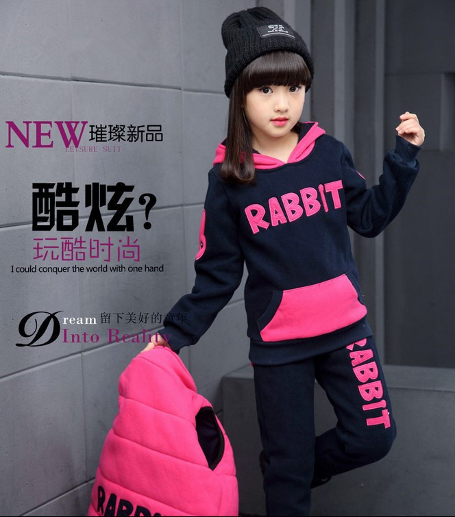 Girls 4 12 Years Sports 3 PCS Set Hooded Vest Tee Shirt Long Pant Fashion Cartoon Thick Fleece Cotton Autumn Hoodies Suit in Clothing Sets from Mother Kids