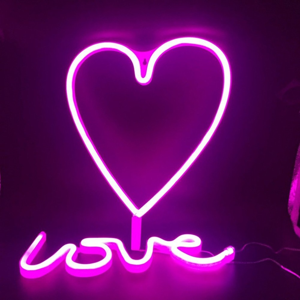 Heart Shape LED Neon Light Home Children Bedroom Wall Hanging Light for Festival Party Wedding Decor Light