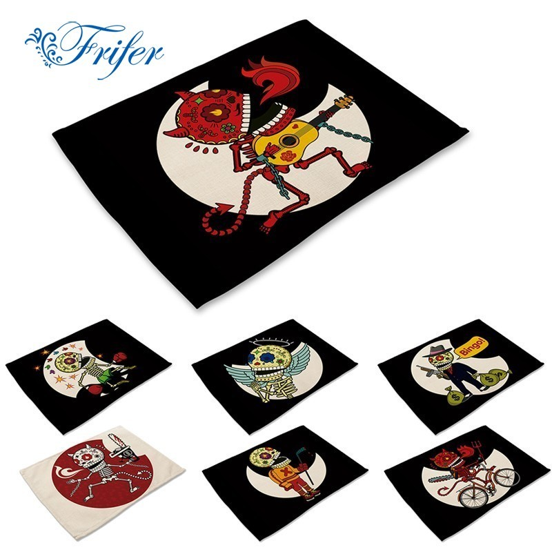 Kitchen Embroidered Linen Napkins Cartoon PUNK Cute Dogs Printing Cotton Placemats Cloth ...