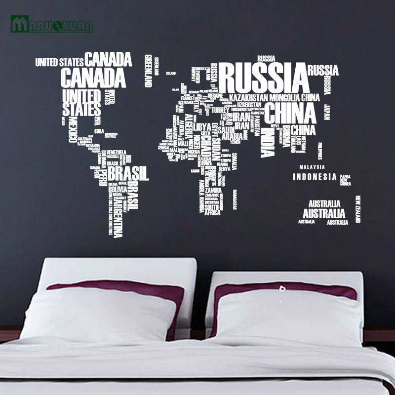 white and colorful letter world map quote removable vinyl decals mural living room office decoration wall
