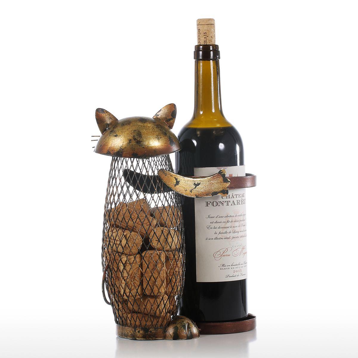 Tooarts Cat Wine Rack Cork Container Bottle Wine Holder Kitchen Bar Metal Wine Craft Christmas Gift Handcraft Animal Wine Stand 12