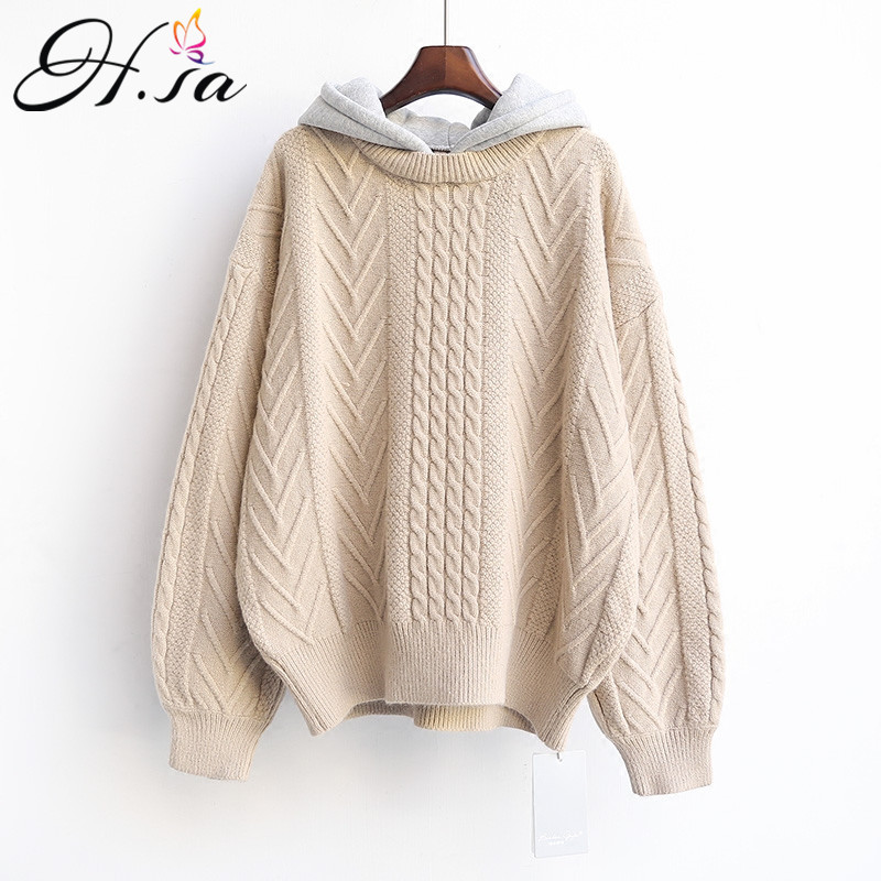 HSA 2018 Winter Hooded Sweater And Jumpers Long Sleeve Casual Korean Twsited Pullovers Lantern Sleeve Knitwear Harajuku Pullover