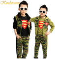 Kindstraum Boys Spring Clothing Sets 3pcs Camouflage Hoodies+Casual Pants Children Clothes Boys Sets Kids Superman Costume,MC391