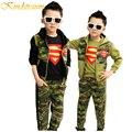 Kindstraum muchachos que arropan la primavera 3 unids camuflaje sudaderas con capucha + pantalones casuales niños ropa niños establece niños traje de superman, mc391