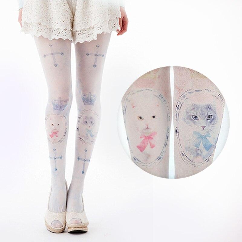 Halloween gift Girls pattern totem pantyhose Womens stockings jacquard thin backing Womens Tights very sexy
