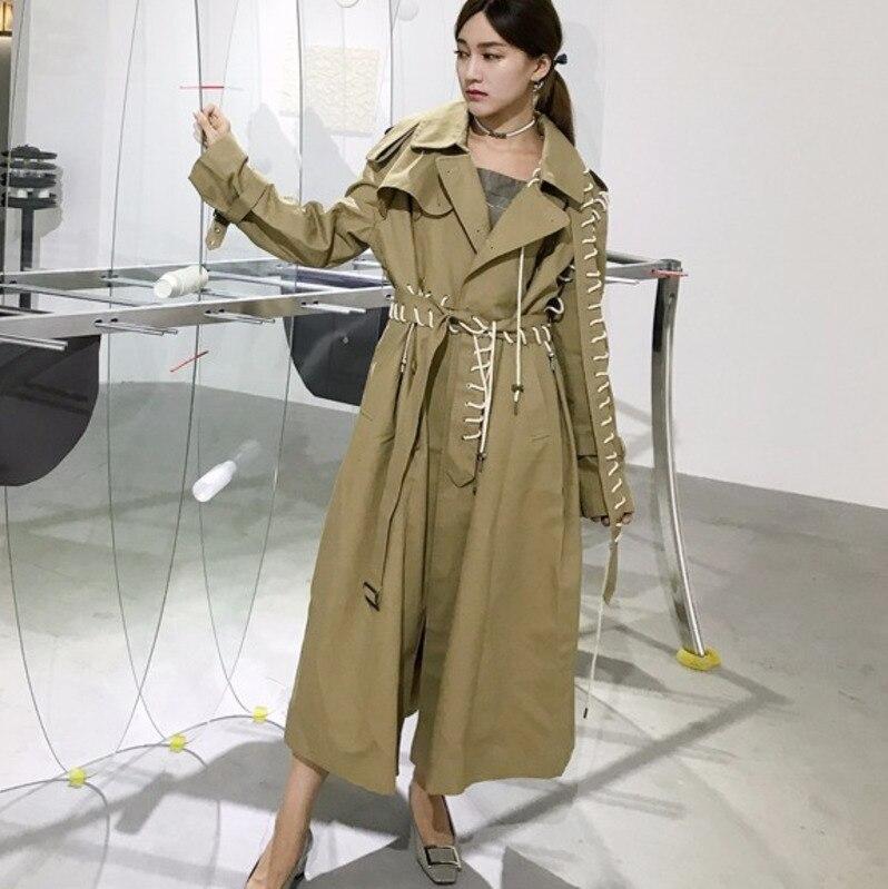 LANMREM 2018 Autumn Trendy New Rope Removable Sleeve Long Sleeve Oversize Loose Solid Windbreaker Womens Fashion Coat YA05304S