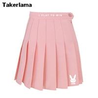 Takerlama D Va DVA High Waist Pleated Skirt Pink Cute Costume Cosplay Collection Dress