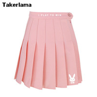 Takerlama D Va DVA High Waist Pleated Skirt Pink Cute Costume Cosplay Collection Dress