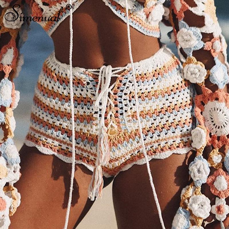 Simenual Crochet sexy hot beachwear lace up tassel   shorts   women summer swimwear hollow out striped   shorts   BOHO knitted fashion