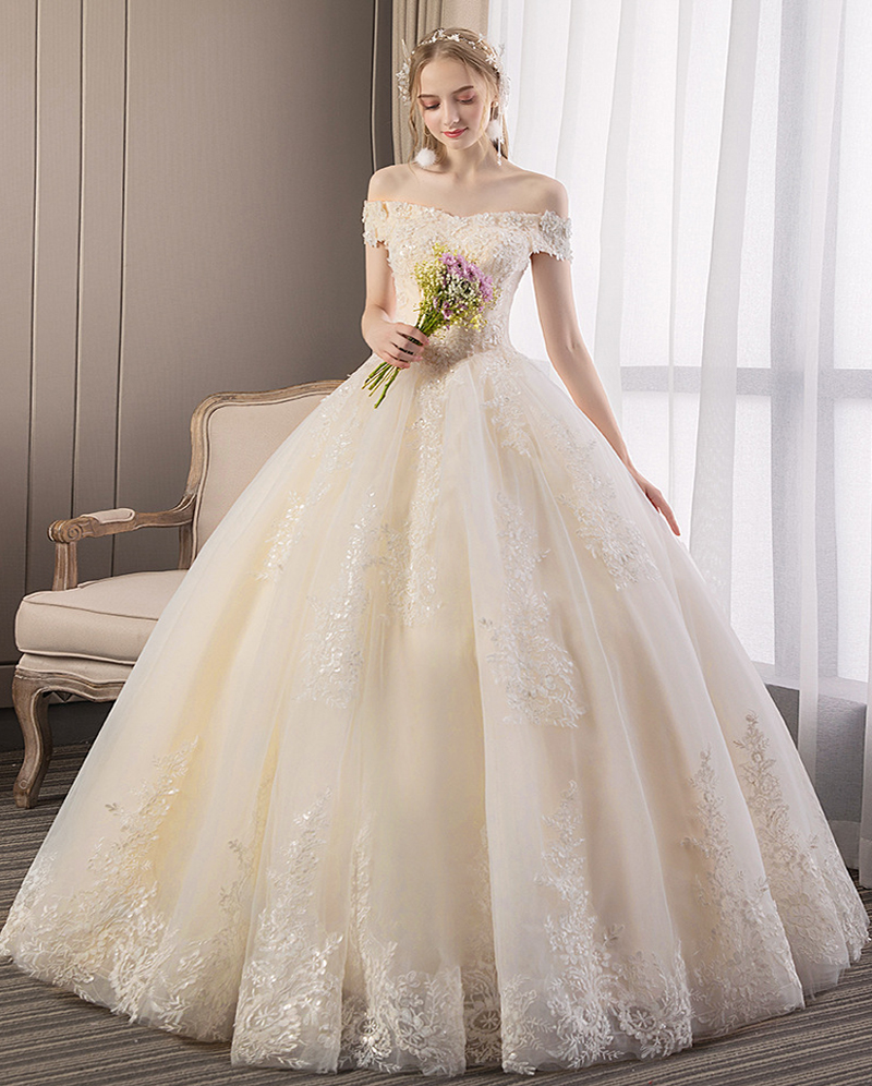 Boat Neck Wedding Dresses 2019 New Lace Beading Sequined Short Sleeves Ball Gown Wedding Dress Plus Sizes Vestido De Noiva