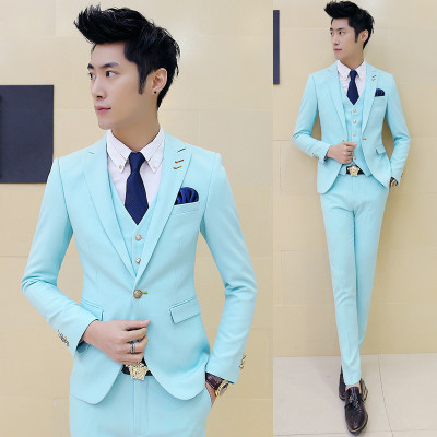 3 piece (Jacket+Vest+Pant) Pink Tuxedo Slim Fit Boys Prom Suits With ...