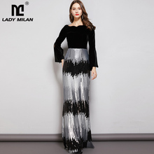 Lady Milan Womens Evening Party Prom Slash Neckline Waist Sleeves Velvet Patchwork Sequined Elegant Long Dresses