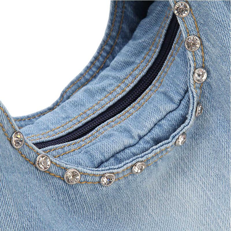 IPinee Mode Vrouwen Denim Handtassen Zoete Hoge Kwaliteit Handtassen Met Diamant Dames Tote Bag Messenger Bags