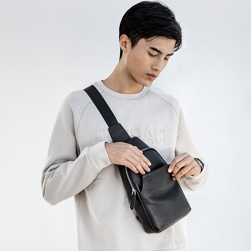 Image 2 - Xiaomi Mijia Youpin Fashion VLLICON Casual Men's Suede Leather Chest Bag Shoulder Bag 190*80*320mm-in Bags from Consumer Electronics