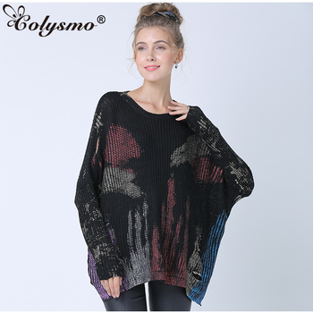 Colysmo Oversized Sweater Women Batwing Sleeve Metallic Print Ripped Pullover 2019 Winter Pull Femme Loose Fashion Streetwear figure print batwing sleeve top