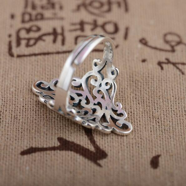 Korean Style New Silver Color Large Rings For Women Wedding Jewelry Statement Adjustable Retro Ring Anillos Anelli 3