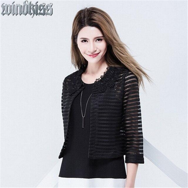 2016 новая весна стиль женщина куртки темперамент элегантный ажурные куртка кардиган кружева пальто женщины черный одежду 40% скидка