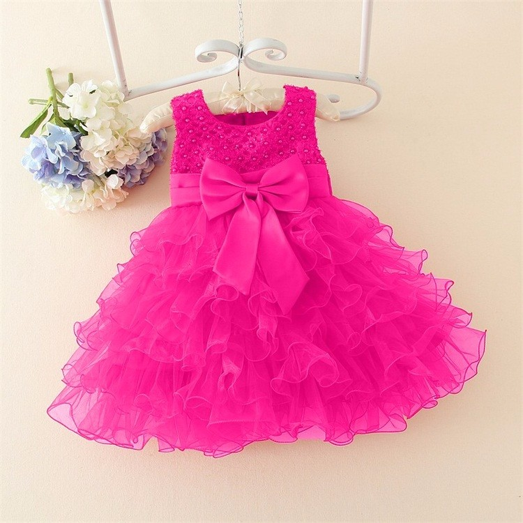 386bb76cc69 Hot Lace flower girls wedding dress baby girls christening cake ...