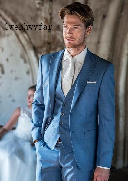 6f91d4abf916 Vestiti suits 3 4 Da 2019 Pezzi Vestito Sposa Tuxedo 3 Mens Sposo Grigio  suits Di suits Jacket Dello Completo Made suits Custom ...